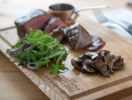 Tom's Table - Chargrilled Fillet Steak with Wild Mushrooms, Rocket Leaves, Red Onion and Port Wine R