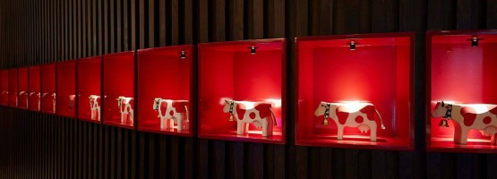 Wooden Cow Display in the Red Cow Moran Hotel