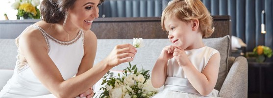 Bride and Flowergirl - Wedding at the Red Cow Moran Hotel